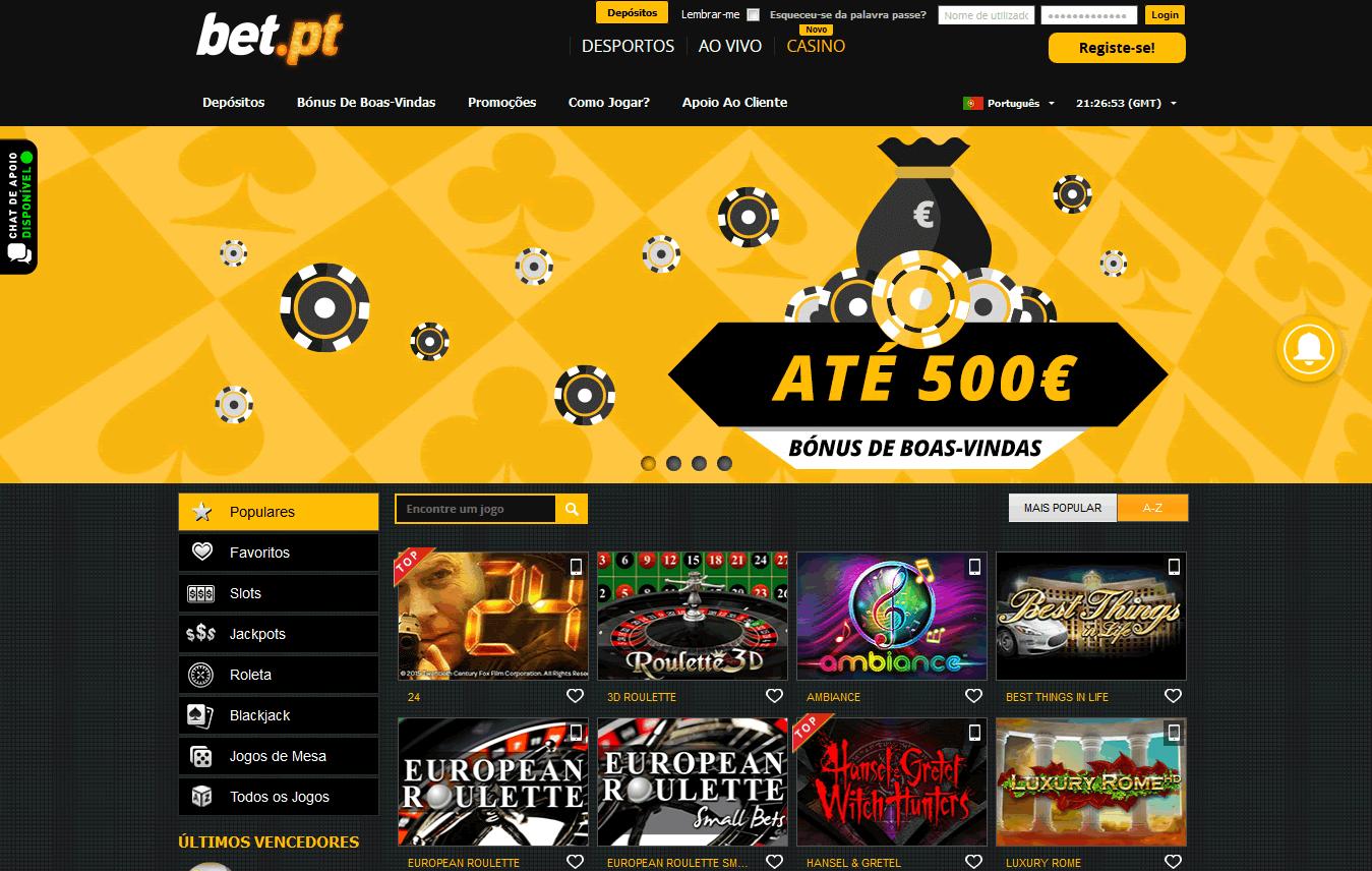 bet.pt casino screenshot