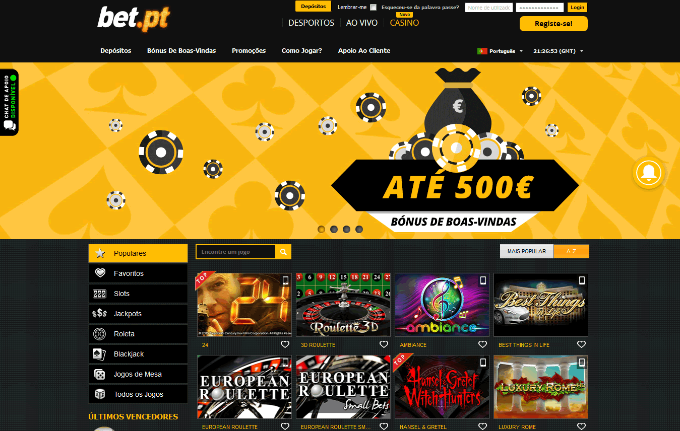 bet.pt casino screenshot